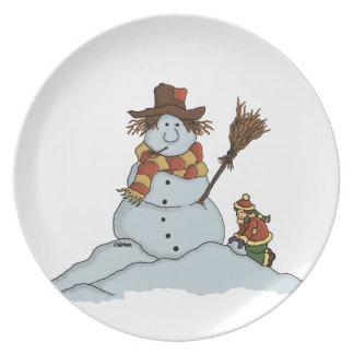neue Schneemannfeiertagsplatte Flache Teller