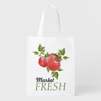 Neue Tomaten und Basilikum-Markt Wiederverwendbare Tragetasche