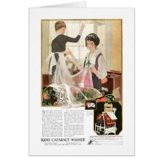 Neue Waschmaschine-Mutter und Tochter Grußkarte