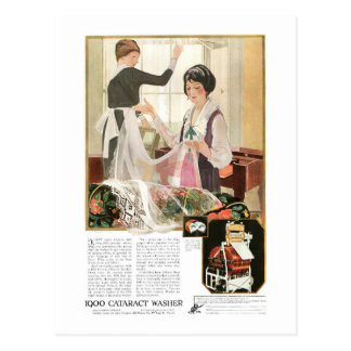 Neue Waschmaschine-Mutter und Tochter Postkarte