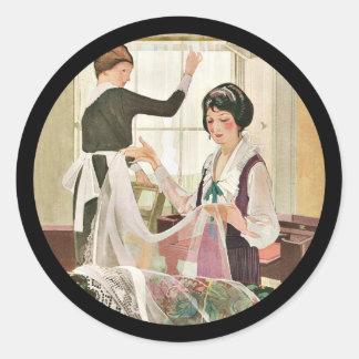 Neue Waschmaschine-Mutter und Tochter Runder Aufkleber