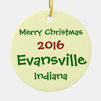 NEUE WEIHNACHTSverzierung 2016 EVANSVILLES INDIANA Keramik Ornament