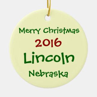 NEUE WEIHNACHTSverzierung 2016 LINCOLNS NEBRASKA Keramik Ornament