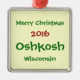 NEUE WEIHNACHTSverzierung 2016 OSHKOSHS WISCONSIN Silbernes Ornament