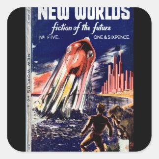 Neue Welt005 (1949.Nova) _Pulp Kunst Quadratischer Aufkleber