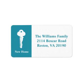 Neue Zuhause-Adressen-Etiketten - aquamarines Blau Adress Aufkleber