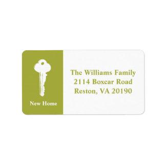 Neue Zuhause-Adressen-Etiketten - Grün Adressaufkleber