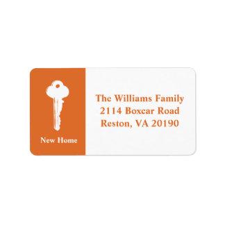 Neue Zuhause-Adressen-Etiketten - Orange Adressetiketten