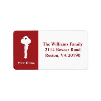 Neue Zuhause-Adressen-Etiketten - Rot Adress Aufkleber