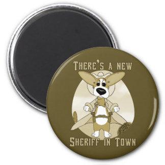 Neuer Sheriff im Stadtmagneten Runder Magnet 5,7 Cm