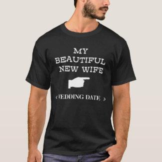 Neuer T - Shirt der Ehefrau-(Hochzeits-Datum)