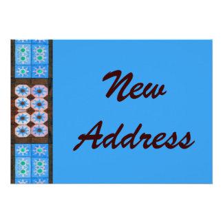 Neues Adressen-Türkis-Brown-Fliesen-Muster Individuelle Ankündigungen