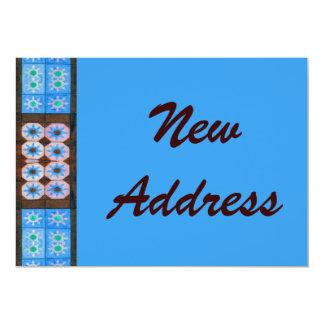 Neues Adressen-Türkis-Brown-Fliesen-Muster 12,7 X 17,8 Cm Einladungskarte