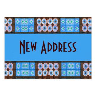 Neues Adressen-Türkis-Brown-Fliesen-Muster Individuelle Ankündigungskarte