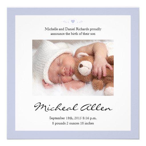 Neues Baby-Gedicht-Geburts-Mitteilungs-Blau Personalisierte Einladung