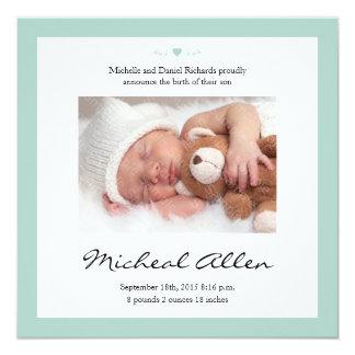 Neues Baby-Gedicht-Geburts-Mitteilungs-Minzen-Grün Quadratische 13,3 Cm Einladungskarte