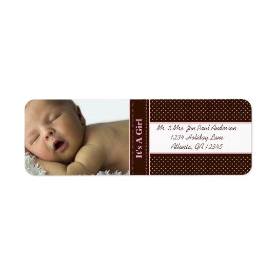 Neues Baby ist es ein Mädchen Brown u. rosa Punkte Rückversand-Adressaufkleber