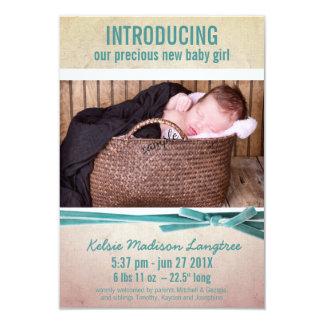 Neues Baby-Mädchen-Foto-und Samt-Band 8,9 X 12,7 Cm Einladungskarte