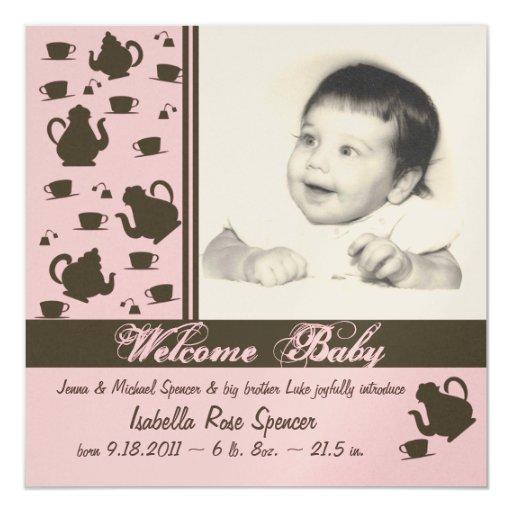 Neues Baby-Mitteilungs-Rosa Quadratische 13,3 Cm Einladungskarte