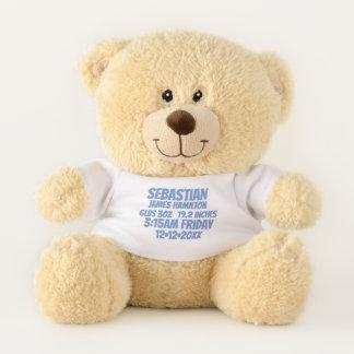 Neues Baby-personalisierte Geburts-Informationen Teddybär