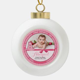 Neues Godparents-Monogramm ein rosa Baby-Foto Keramik Kugel-Ornament