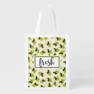 Neues grünes Avocado-Aquarell-Muster Wiederverwendbare Einkaufstasche