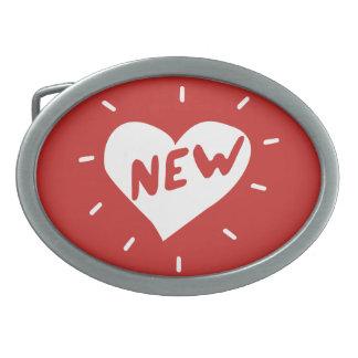 Neues Herz/ovale Gürtelschnalle (rot)