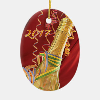 Neues Jahr-Champagneflaschen-u. -Party-Ausläufer Keramik Ornament