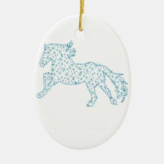 Neues Jahr der Pferdeschneeflocke, weißer Keramik Ornament