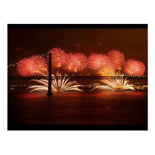 Neues Jahr Feuerwerk Lissabon Postkarten