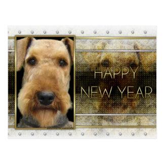 Neues Jahr - goldene Eleganz - Airedale Postkarte