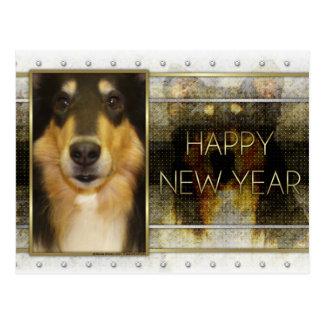 Neues Jahr - goldene Eleganz - Collie - Caroline Postkarte
