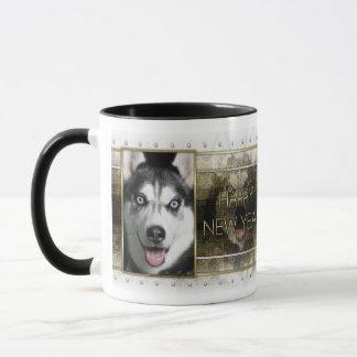Neues Jahr - goldene Eleganz - sibirischer Husky Tasse