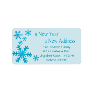 Neues Jahr, neuer Adressenschneeflocke-Feiertag Adressaufkleber
