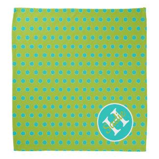 Neues Retro grünes und blaues Tupfen-Monogramm Halstuch