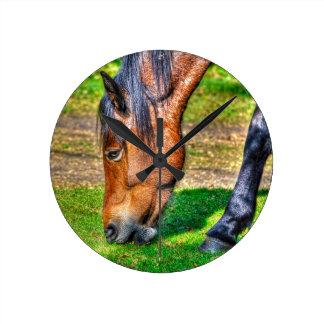 Neues Waldpony-Foto für Pferd-Liebhaber Runde Wanduhr