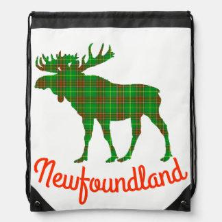 Neufundland-Elche Tartan-Reise Drawstring Tasche Turnbeutel