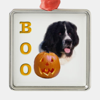 Neufundland Landseer Halloween Boo Silbernes Ornament