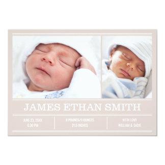 Neugeborene Baby-Geburts-Mitteilungs-beige Karte