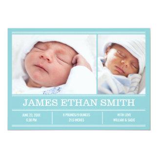 Neugeborene Baby-Geburts-Mitteilungs-blaue Karte
