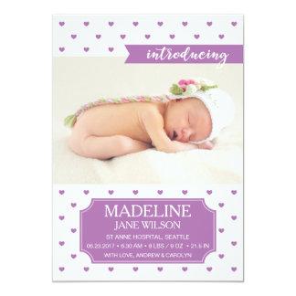 Neugeborene Baby-Geburts-Mitteilungs-lila Karte