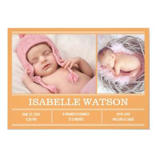 Neugeborene Baby-Geburts-Mitteilungs-orange Karte