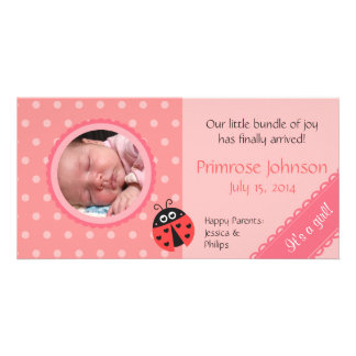 Neugeborene Foto-Karte: Marienkäfer mit rosa Photokartenvorlagen