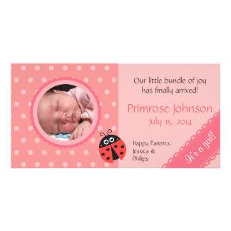 Neugeborene Foto-Karte: Marienkäfer mit rosa Tupfe Photokartenvorlagen