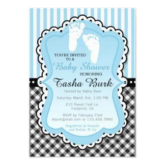 Neugeborener Abdruck-blaue Babyparty-Einladung Karte