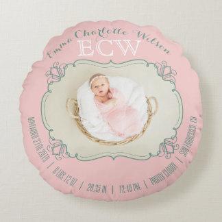 Neugeborenes Baby-Foto-Monogramm erröten rosa Rundes Kissen