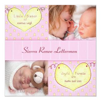 Neugeborenes Mädchen mit Quadratische 13,3 Cm Einladungskarte