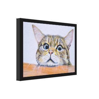 Neugier-Katzen-Wasserfarbe-Leinwand Leinwanddruck