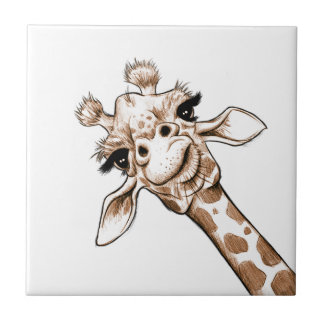 Neugierige Giraffen-Kunst Keramikfliese