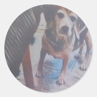 Neugieriger Beagle Runder Aufkleber
